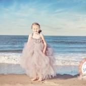 Grey criss cross flowergirl dress