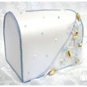 Beach Wedding Chest Money Card Box with with Shells, Cords, Beads and Pearls