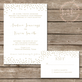 Gold Dotted Wedding Invitation