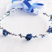 Royal Blue Rose Crown, Something Blue Crown, Blue Bridal Circlet