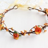 Orange Bridal Crown, Rustic Floral Crown, Woodland Halo