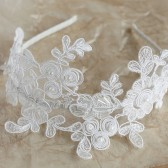 Floral Lace Hair Band, Lace Bridal Headband, Ivory Lace Tiara