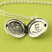 Personalized Floral Locket Necklace - Silver