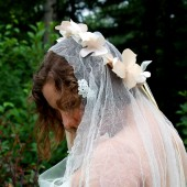 Crushes Tulle Drop Veil with Venetian Lace