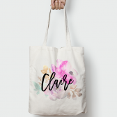 Floral Posie Personalized Name Wedding Tote Bag