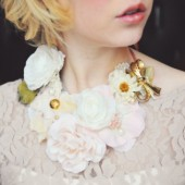 Floral Necklace with Vintage Brooch and Pearls