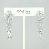 Flower Dangle Cubic Zircon Drop Earrings