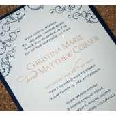 Flower and Flourish Romantic Wedding Invitation