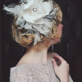Flower Fascinator with Vintage brooch and pearls with Ostrich feathers