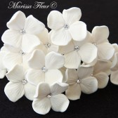 Bridal Hair Pins, Set Of 6 Hair Pins, White Or Ivory Hydrangeas With Swarovski Rhinestones