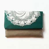Emerald Green Fold Over Clutch