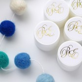 Wedding lip balm favors that sparkle