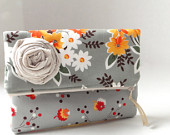 brown print bag with fabric flower