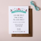 Folksy Floral Wedding Invitations