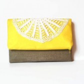 Yellow Fold Over Clutch Vintage Doily