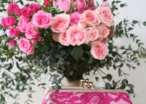 fuchsia alencon parsley clutch purse