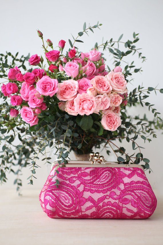 Fuchsia Alencon Lace Clutch Purse by ANGEE W. | http://emmalinebride.com/marketplace/fuchsia-alencon-lace-clutch-purse/