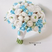 white blue keepsake bouquet alternative bouquet winter bouquet clay flowers bouquet