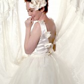 Satin bridal Top with Handmade Flowers