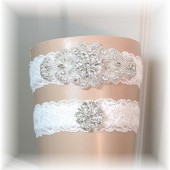 Couture Crystal Rhinestone Garter Set with Light Ivory Lace, Bridal Garter, Garters