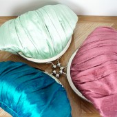 Gathered silk framed clutches