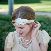 The Daisy - Lace and Flower Gold Headband