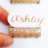Gold Glitter Name Card Holder