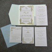Blush and gold letterpress wedding invitation