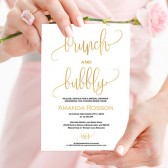 Gold bridal brunch invitation printables
