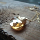 Golden Crystal Briolette Necklace