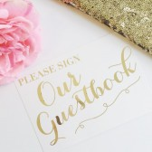 Whimsical Gold Foil Guestbook Wedding Sign