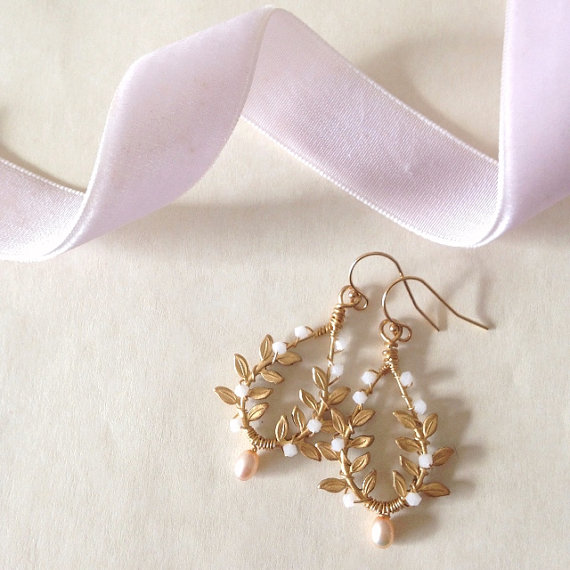 gold leaf earrings violette and iris