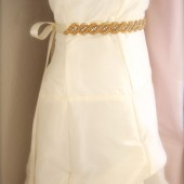 Gold Bridal Sash, Rhinestone Beaded Sash, Satin ribbon dress sash, Love Knot Twist