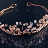 Rose Gold Wire Tiara, Crystal Hair Wreath, Wire Bridal Crown, Wire Wedding Tiara, Twisted Wire Tiara, Crystal Crown, Crystal Bridal Tiara