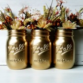 Gold Painted Ball Mason Jars - Pint size