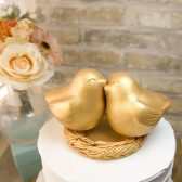 gold love bird topper