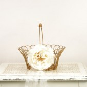 Vintage Metal and Wicker Flower Girl Basket with English Rose