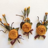 6 vintage silk turmeric gold brown boutonnieres for Wedding