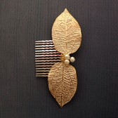 Gold and cream leaves and Pearls Hair comb Wedding party ceremony reception