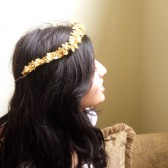 Greek Gold wedding Bridal headband Golden Flowers Floral headband halo Handmade wedding