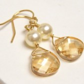 Elizabeta Golden Champagne Pearl Earrings