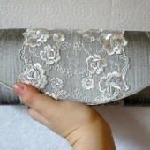 Gray silk clutch with lace