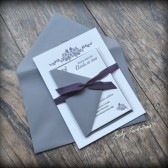 Dusty Plum Letterpress Wedding Invitation Suite