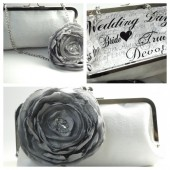 Bridal clutch fabric flower pin