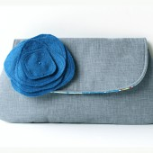 Bridesmaid Clutch in Gray and Blue