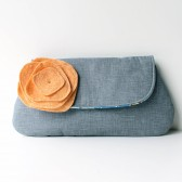 Clutch Purse, Coral Peach and Grey, Flower Brooch