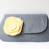 Clutch Purse and Flower Pin, Gray and Yellow