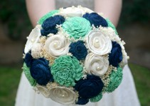 green and navy blue sola bouquet