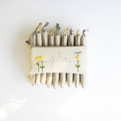 yellow and grey bridesmaid clutches