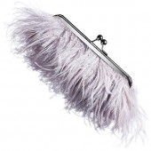 Ostrich Feather Clutch - Dove Grey